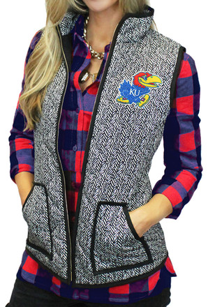 Gameday Couture Kansas Jayhawks Womens Grey Herringbone Quilted Vest Vest