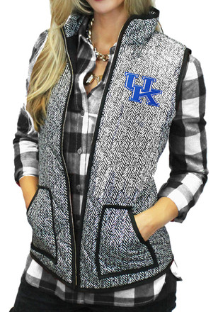 Gameday Couture Kentucky Wildcats Womens Grey Herringbone Quilted Vest Vest