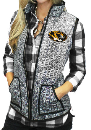 Gameday Couture Missouri Tigers Womens Grey Herringbone Quilted Vest Vest