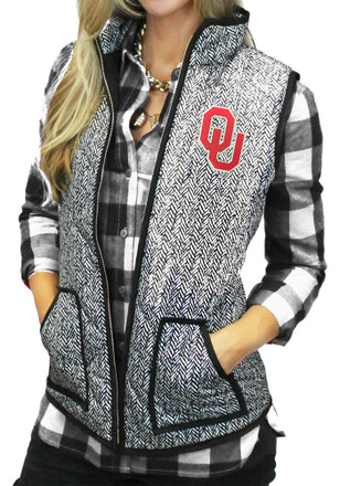 Gameday Couture Oklahoma Womens Grey Herringbone Quilted Vest Vest