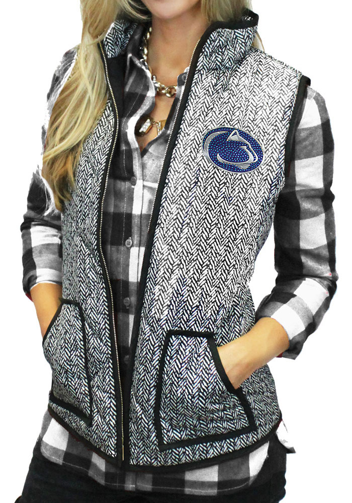 Gameday Couture Penn State Nittany Lions Juniors Grey Herringbone Quilted Vest Vest - Image 1