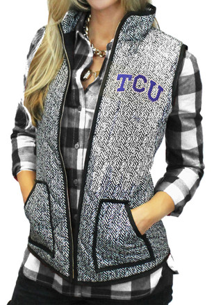 Gameday Couture TCU Horned Frogs Womens Grey Herringbone Quilted Vest Vest