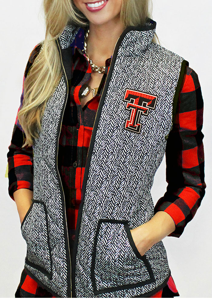 Gameday Couture Texas Tech Red Raiders Juniors Grey Herringbone Quilted Vest Vest - Image 1