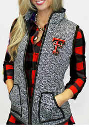 Gameday Couture Texas Tech Womens Grey Herringbone Quilted Vest Vest