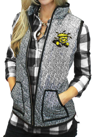 Gameday Couture Wichita State Shockers Womens Grey Herringbone Quilted Vest Vest