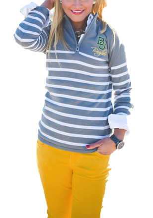 Gameday Couture Baylor Bears Womens Lurex Striped 1/4 Zip Grey 1/4 Zip Pullover