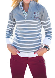 Gameday Couture Texas A&M Womens Lurex Striped 1/4 Zip grey/white 1/4 Zip Pullover