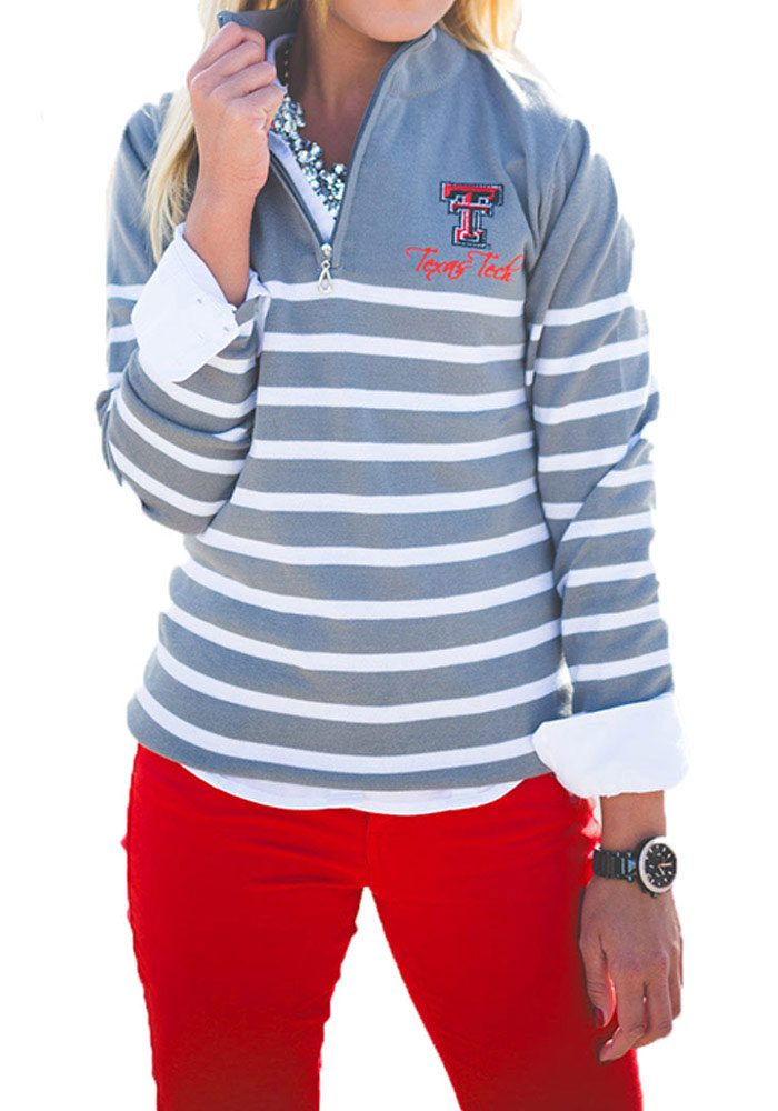 Gameday Couture Texas Tech Red Raiders Juniors Grey Lurex Striped 1/4 Zip 1/4 Zip Pullover - Image 1