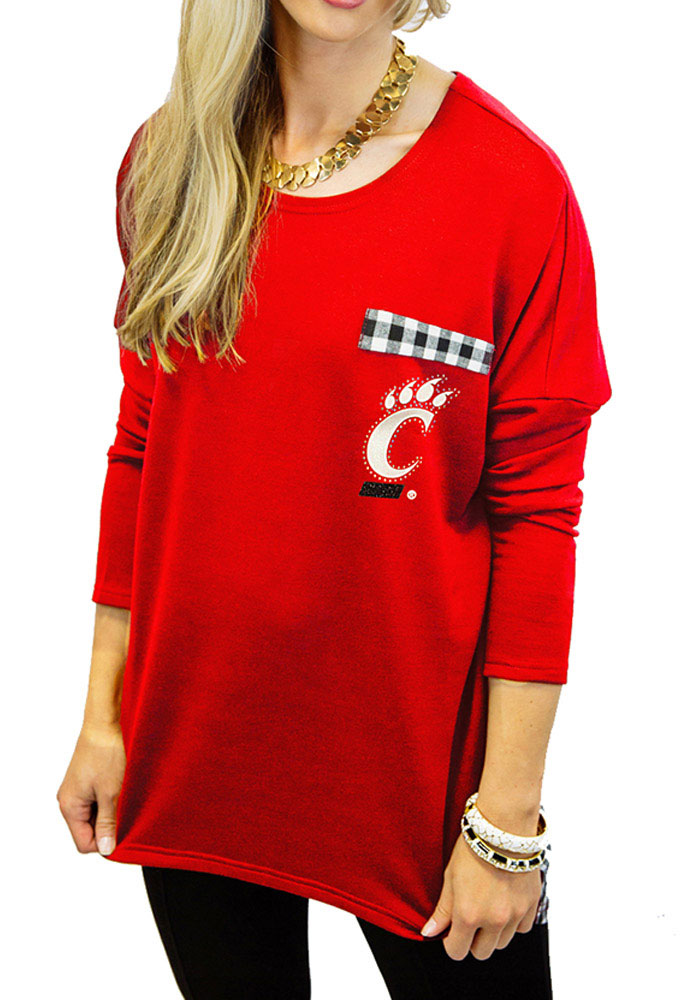 Gameday Couture Cincinnati Womens Oversized Gingham Piko Red LS Tee 7910130