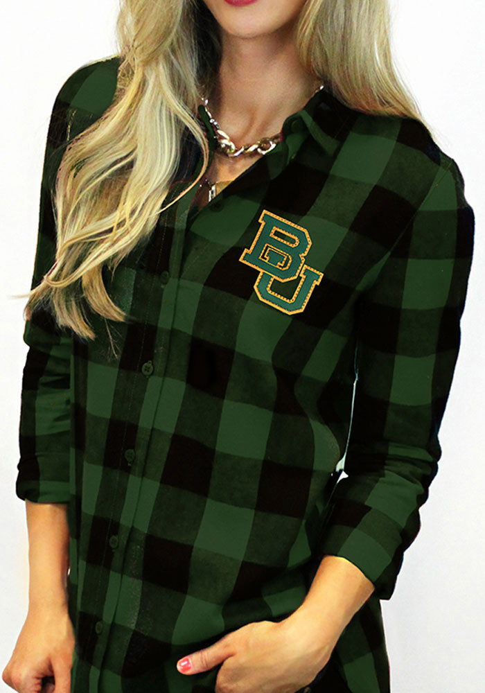 Gameday couture baylor bears womens buffalo check long for Womens green checked shirt