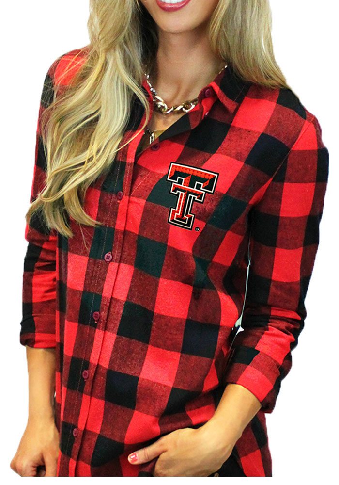 Gameday Couture Texas Tech Red Raiders Womens Buffalo Check Long Sleeve Red Dress Shirt - Image 1