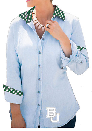 Gameday Couture Baylor Bears Womens Light Blue Chambray Dress Shirt
