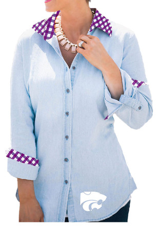 Gameday Couture K-State Wildcats Womens Light Blue Gingham Dress Shirt