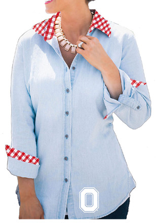 Gameday Couture The Ohio State University Womens Light Blue Dress Shirt