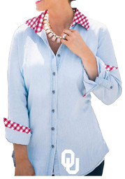 Gameday Couture Oklahoma Womens Blue Gingham Buttondown Dress Shirt