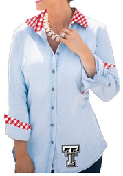 Gameday Couture Texas Tech Womens Light Blue Dress Shirt