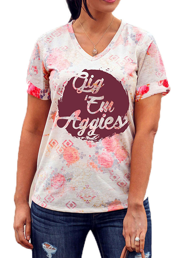 Gameday Couture Texas A&M Aggies Womens Maroon In Bloom V-Neck T-Shirt - Image 1