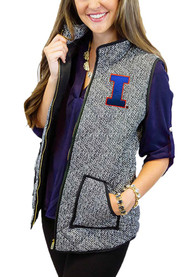 Illinois Fighting Illini Womens Gameday Couture Herringbone Quilted Vest Vest - Grey