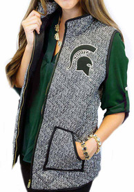 Michigan State Spartans Womens Gameday Couture Herringbone Quilted Vest Vest - Grey