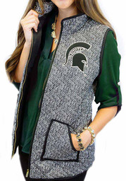 Gameday Couture Michigan State Spartans Womens Grey Herringbone Quilted Vest Vest