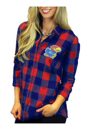 Gameday Couture Kansas Jayhawks Womens Blue Buffalo Check Dress Shirt