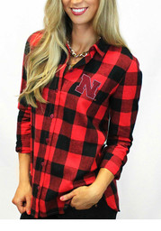 Gameday Couture Nebraska Womens Red Buffalo Check Dress Shirt