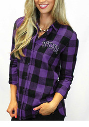 Gameday Couture Horned Frogs Womens Purple Buffalo Check Dress Shirt