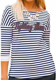 Illinois Womens Side-Button Stripe Navy Blue T-Shirt