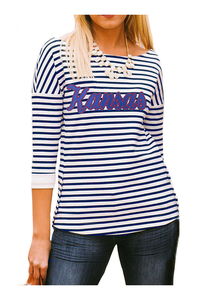 Gameday couture kansas jayhawks womens navy blue side for Navy blue striped long sleeve shirt