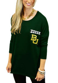 Gameday Couture Baylor Bears Womens Oversized Gingham Green LS Tee
