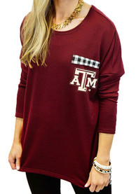 Gameday Couture Texas A&M Aggies Womens Oversized Gingham Maroon LS Tee