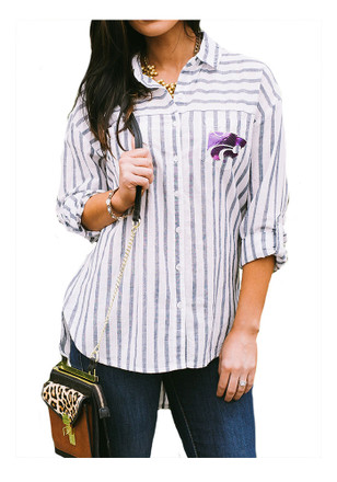 Gameday Couture K-State Wildcats Womens White I'll Be Back Dress Shirt