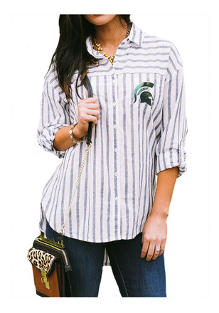 Gameday Couture Michigan State Spartans Womens White I'll Be Back Dress Shirt