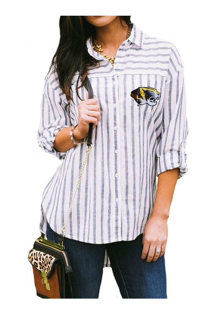 Gameday Couture Missouri Tigers Womens I'll Be Back Long Sleeve White Dress Shirt - Image 1