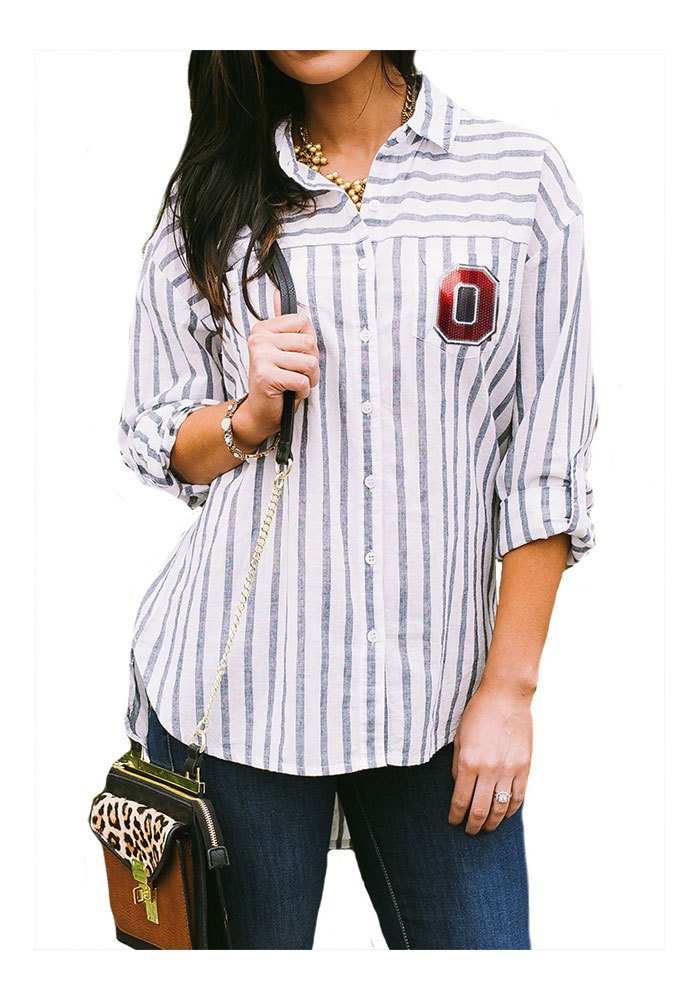 Gameday Couture Ohio State Buckeyes Womens I'll Be Back Long Sleeve White Dress Shirt - Image 1