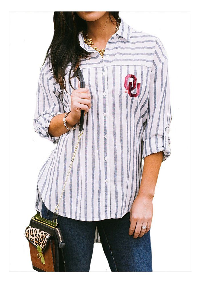 Gameday Couture Oklahoma Sooners Womens I'll Be Back Long Sleeve White Dress Shirt - Image 1