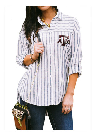 Gameday Couture Texas A&M Aggies Womens White I'll Be Back Dress Shirt