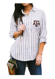 Gameday Couture Texas A&M Womens White I'll Be Back Dress Shirt