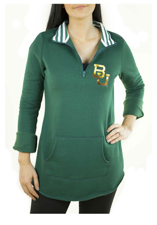 Gameday Couture Baylor Bears Womens Tunic Fleece Green 1/4 Zip Pullover