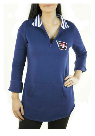 Gameday Couture Dayton Flyers Womens Tunic Fleece Blue 1/4 Zip Pullover