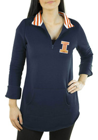Illinois Fighting Illini Womens Gameday Couture Tunic Fleece 1/4 Zip Pullover - Navy Blue