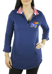 Gameday Couture Kansas Jayhawks Womens Tunic Fleece Blue 1/4 Zip Pullover