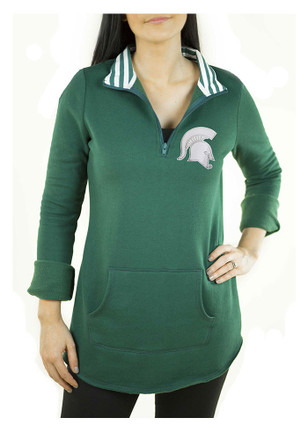 Gameday Couture Michigan State Spartans Womens Tunic Fleece Green 1/4 Zip Pullover