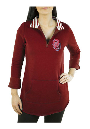 Gameday Couture Oklahoma Sooners Womens Tunic Fleece Red 1/4 Zip Pullover