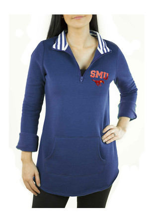 Gameday Couture SMU Mustangs Womens Tunic Fleece Blue 1/4 Zip Pullover