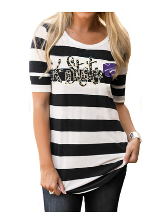 Gameday Couture K-State Wildcats Womens Stripe A Pose Navy Blue T-Shirt