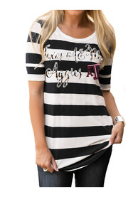Gameday Couture Texas A&M Aggies Womens Stripe A Pose Navy Blue T-Shirt