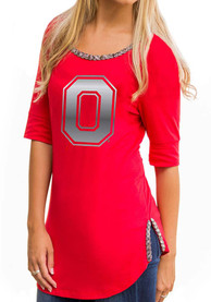 Gameday Couture Ohio State Buckeyes Womens On With The Show Red Scoop T-Shirt