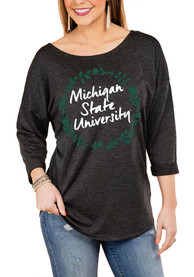 Michigan State Spartans Womens Gameday Couture Floral Ring Crew Sweatshirt - Charcoal