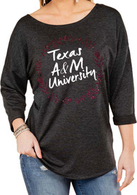 Texas A&M Aggies Womens Gameday Couture Floral Ring Crew Sweatshirt - Charcoal
